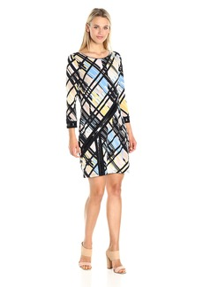Laundry by Shelli Segal Women's 3/4 Sleeve Printed Dress with Patent Faux Leather Deatils  S
