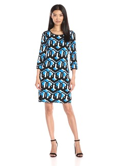 laundry BY SHELLI SEGAL Women's 3/4 Sleeve Printed Matte Jersey Dress with Contrast