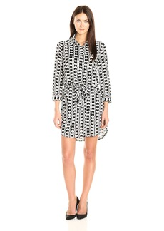 laundry BY SHELLI SEGAL Women's 3/4 Sleeve Printed Shirt Dress with Patch Pockets  L