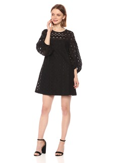 Laundry by Shelli Segal Women's a-Line Lace Dress with Full Sleeve