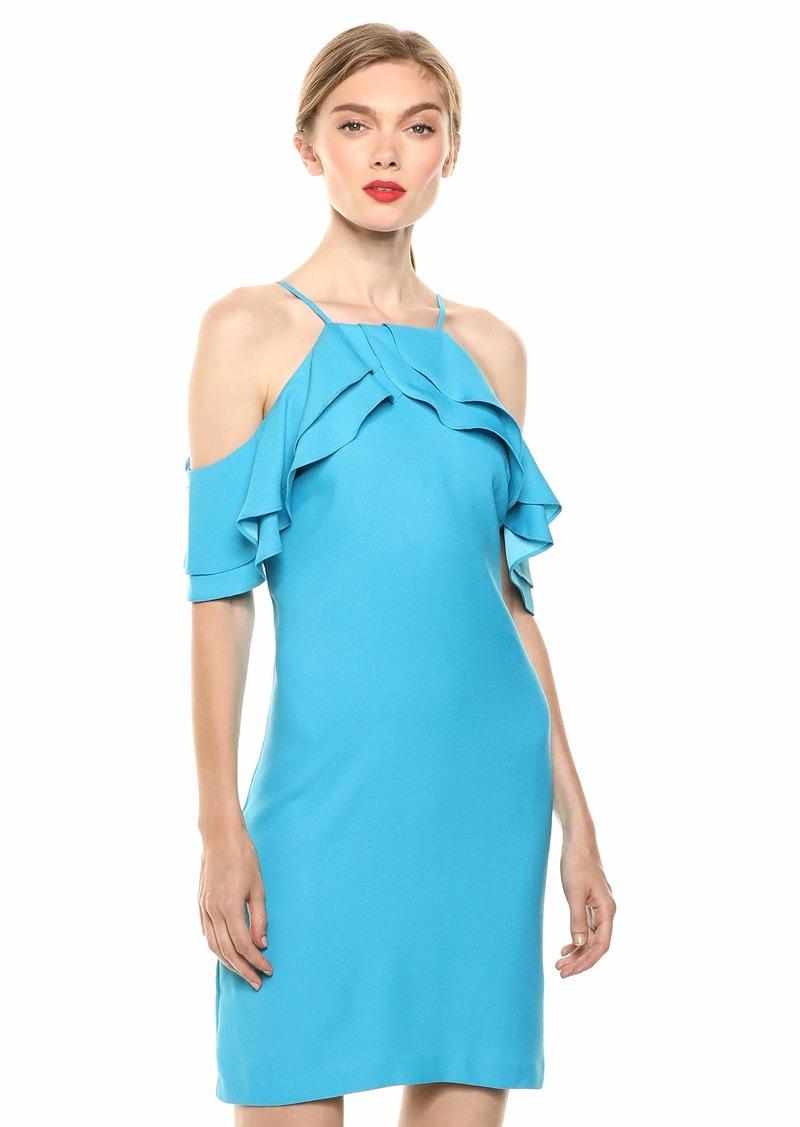 LAUNDRY BY SHELLI SEGAL Women's Apron Neck Cold Shoulder Dress