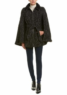 Laundry by Shelli Segal Women's Belted Cape with Fleece Trim