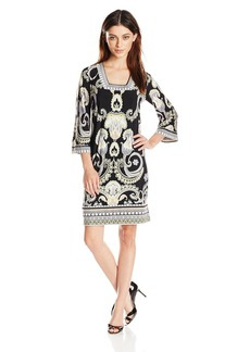 laundry BY SHELLI SEGAL Women's Border Print Square Neck and Jersey Dress