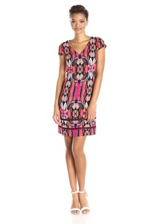 laundry BY SHELLI SEGAL Women's Cap Sleeve Print A-Line Dress with Mesh