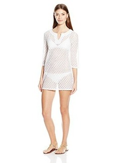 Laundry by Shelli Segal Women's Capri Crochet V-Neck Tunic Cover Up