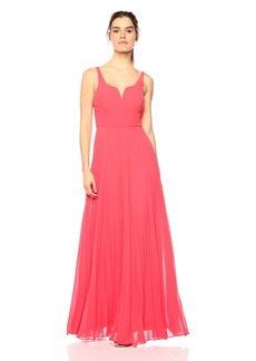Laundry by Shelli Segal Women's Chiffon Gown With Pleated Skirt