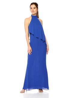 Laundry by Shelli Segal Women's Chiffon Halter Gown with Asymmetrical Popover