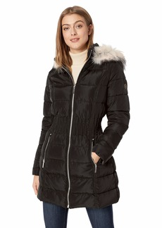 LAUNDRY BY SHELLI SEGAL Women's Cinched Waist Puffer Coat with Faux Fur Hood