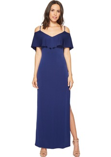 Laundry by Shelli Segal Women's Cold Shoulder Fl pop Jersey Gown with Deep V-Bk & St Tie Dt