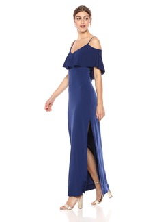 Laundry by Shelli Segal Women's Cold Shoulder Fl Pop Jersey Gown with Deep V-Bk and St Tie Dt