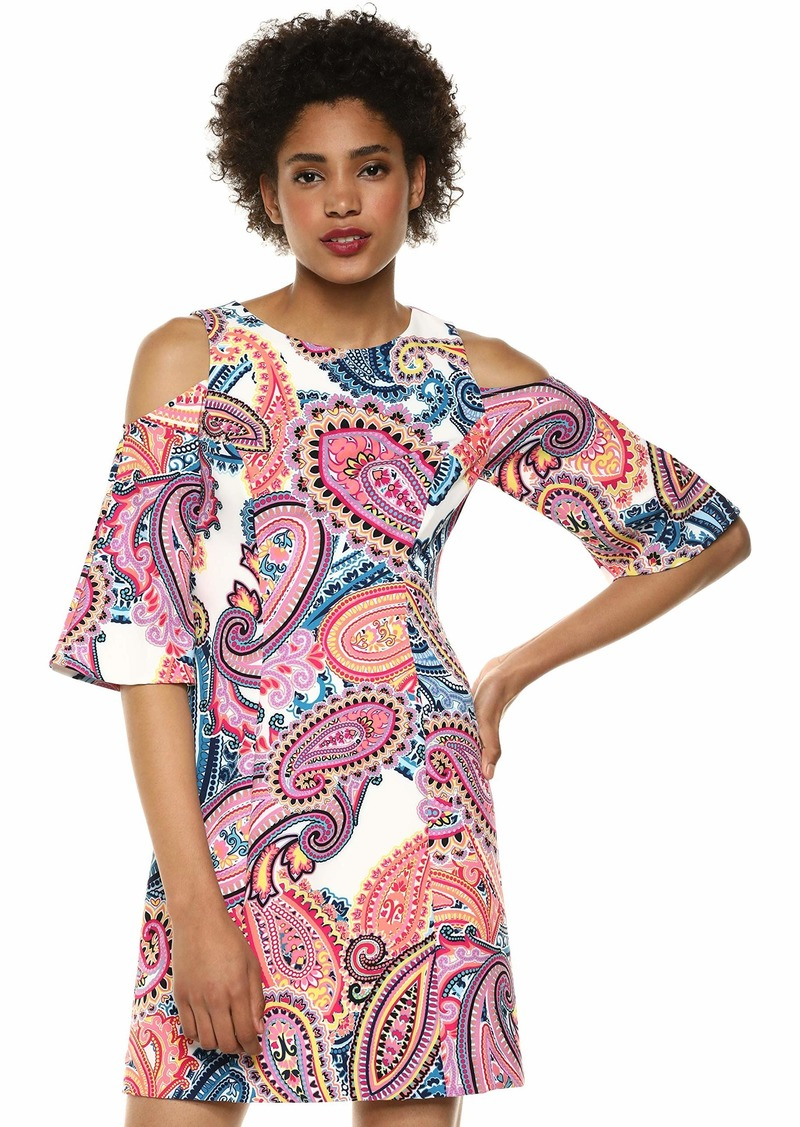 LAUNDRY BY SHELLI SEGAL Women's Cold Shoulder Paisley Dress