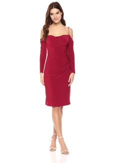 Laundry by Shelli Segal Women's Cold Shoulder Side Ruched Knit Dress