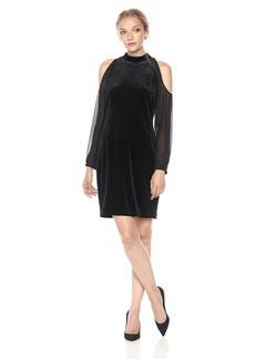 Laundry by Shelli Segal Women's Cold Shoulder Sleeve Velvet Dress