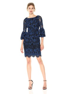LAUNDRY BY SHELLI SEGAL Women's Corded Lace Cocktail Dress with Puffy Sleeve