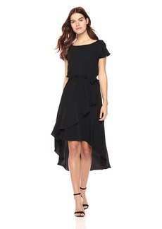 Laundry by Shelli Segal Women's Crepe Dress With Asymmetrical Hi-Low Hem