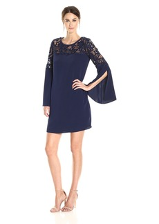 laundry BY SHELLI SEGAL Women's Crepe Dress with Lace