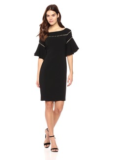 Laundry by Shelli Segal Women's Crepe Dress with Pearl Strand Details