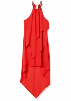 LAUNDRY BY SHELLI SEGAL Women's Crepe Georgette Tiered Chain Neck Dress