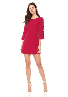 Laundry by Shelli Segal Women's Crepe Shift Dress With Pearl Sleeve Detail