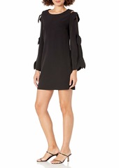 LAUNDRY BY SHELLI SEGAL Women's Crepe Shift Dress with Ties