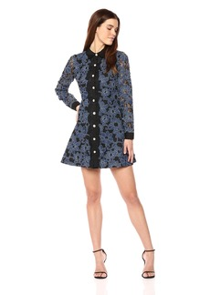 Laundry by Shelli Segal Women's Denim Lace Shirt Dress