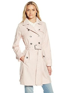 Laundry By Shelli Segal Women's Double Breasted Trench with Leopard Trim