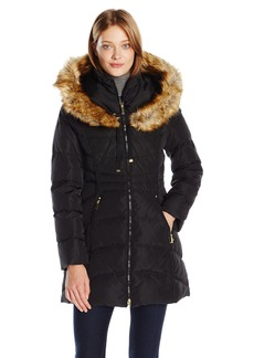 Laundry by Shelli Segal Women's Down-3/4 Windbreaker with Faux Fur Trim Hood  M