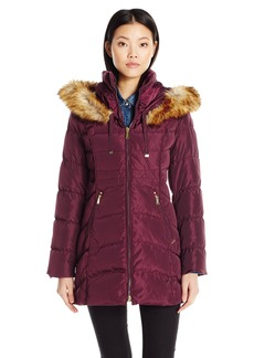 Laundry by Shelli Segal Women's Down-3/4 Windbreaker with Faux Fur Trim Hood  S