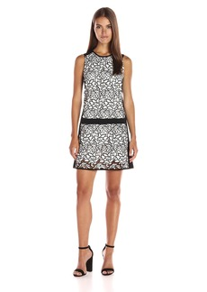 laundry BY SHELLI SEGAL Women's Drop Waist Sleeveless Dress with Contrast