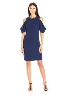 Laundry by Shelli Segal Women's Embellished Neck Crepe Short Dress