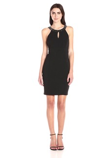 Laundry by Shelli Segal Women's Embellished Neck Cut Away Crepe Cocktail Dress