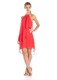 laundry BY SHELLI SEGAL Women's Embellished Neck Tierred Asymmetrical Hem Dress
