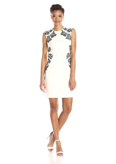 Laundry by Shelli Segal Women's Embroidered Cap Sleeve Sheath Dress