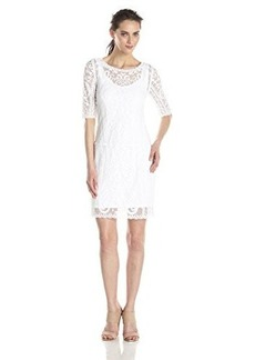laundry BY SHELLI SEGAL Women's Embroidered Mesh Dress