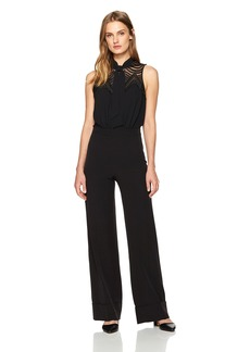 Laundry by Shelli Segal Women's Embroidered Yoke Jumpsuit with Tie Neck