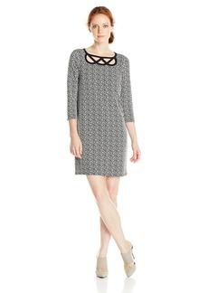 laundry BY SHELLI SEGAL Women's Escher Geo Dress BlackWhite