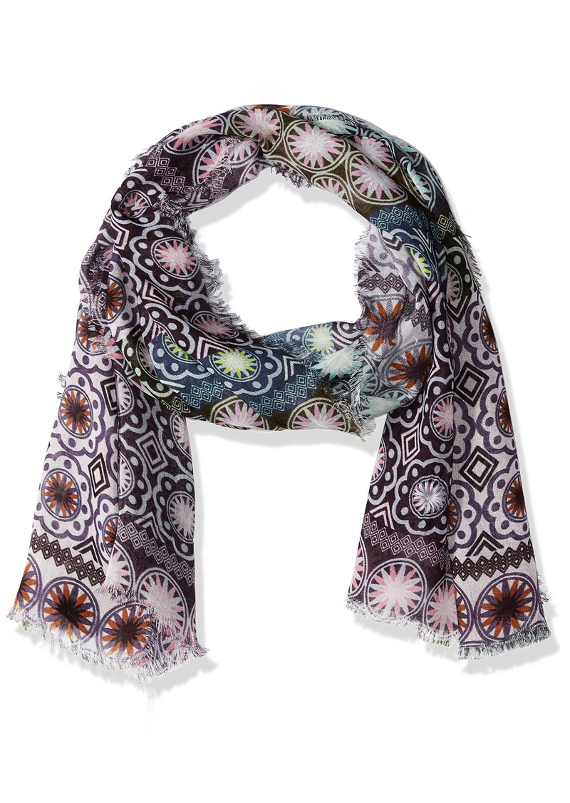 LAUNDRY BY SHELLI SEGAL Women's Ethnic Tile Embroidered Scarf Wrap pink Gin