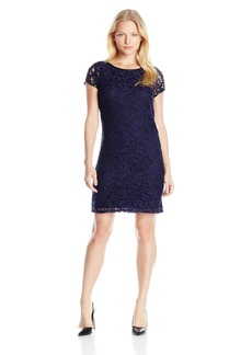 laundry BY SHELLI SEGAL Women's Faux Leather Trim Lace Tee Dress