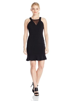 laundry BY SHELLI SEGAL Women's Fitted Mesh Inset Flounce Dress