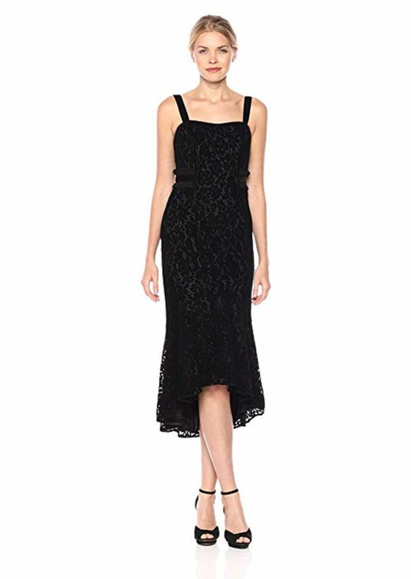 Laundry by Shelli Segal Women's Flocked Lace and Velvet Trim Mermaid Hem Cocktail Dress