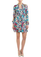 LAUNDRY BY SHELLI SEGAL Women's Floral Printed Godet Dress with Ruffle Detail