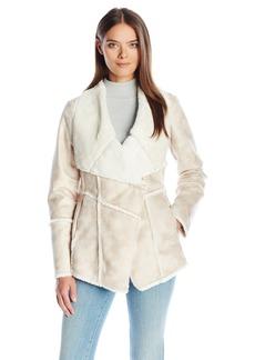 Laundry by Shelli Segal Women's Fur-Faux Shearling Drape Front Coat  L