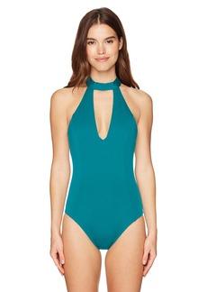 Laundry by Shelli Segal Women's Italian Luxe Solids Choker One Piece Swimsuit deep Teal L