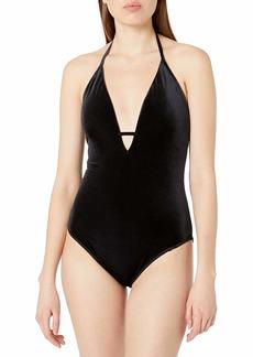 LAUNDRY BY SHELLI SEGAL Women's Italian Velvet Plunge One Piece Swimsuit  M