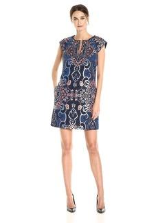 laundry BY SHELLI SEGAL Women's Jacquard Cap Sleeve Dress