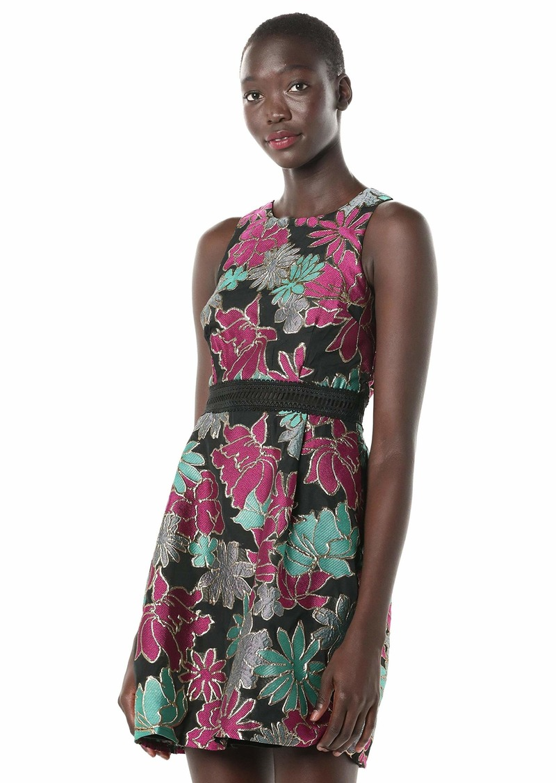 LAUNDRY BY SHELLI SEGAL Women's Jacquard Fit and Flare Dress with Lace Trim
