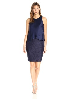 laundry BY SHELLI SEGAL Women's Lace Cocktail Dress with Satin Popover
