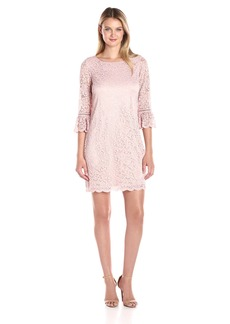 laundry BY SHELLI SEGAL Women's Lace Dress with 3/4 Flounce Sleeve  S