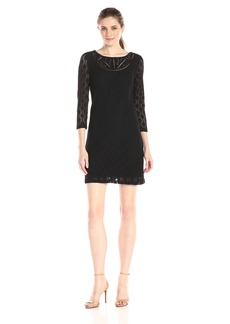 laundry BY SHELLI SEGAL Women's Lace Dress with Lattice Trim Neck