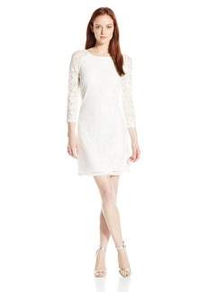laundry BY SHELLI SEGAL Women's Lace Petite T-Body 3/4 Sleeve Dress